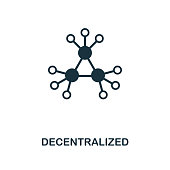 Decentralized icon. Monochrome style design from crypto currency collection. UI. Pixel perfect simple pictogram decentralized icon. Web design, apps, software, print usage.