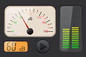 Decibel gauge with volume level. Vector 3d illustration