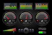 Decibel sound meter with equalizer and buttons. Black user interface. Vector 3d illustration