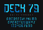 Deck 79 vector futuristic industrial display typeface design, alphabet, character set, font, typography, letters and numbers. Swatch color control.