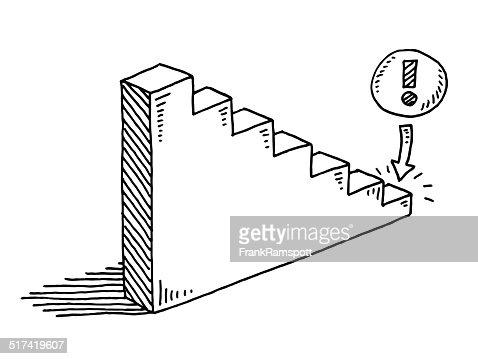 Declining Graph Exclamation Mark Drawing Vector Art