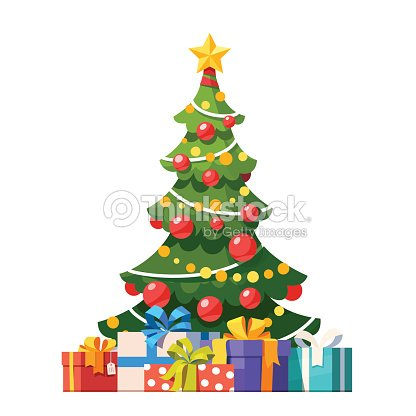 decorated christmas tree with lots of gift boxes vector art