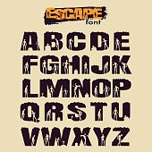 Decorative alphabet vector font. Letters symbols with cutout zombies silhouettes. Typography for headlines, posters and greeting cards