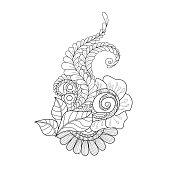 Decorative art flowers. doodle floral pattern. Hand-drawn design element.
