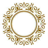 gold ornamental round, Decorative art frame, Abstract vector floral ornament border for your design
