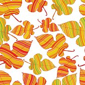 Decorative beautiful autumn leaves, seamless deciduous pattern on a white background.  Vector hand drawn illustration.