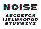 Decorative bold font with digital noise, distortion, glitch effect. Vector alphabet letters, typeface.