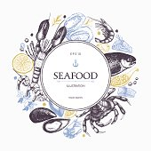 Vector frame with hand drawn seafood illustration - fresh fish, lobster, crab, oyster, mussel, squid and spice. Vintage menu template.
