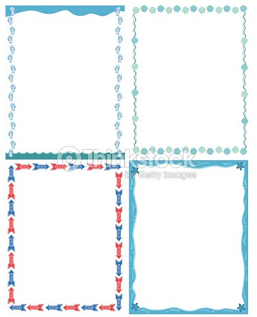 Decorative cartoon frames and borders set . Summer sea vacation. : Vector  Art