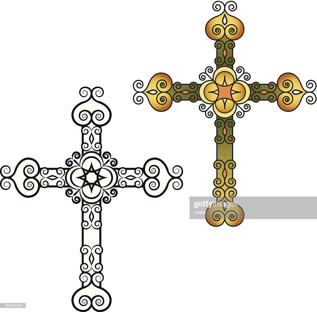 Decorativo Cruz Arte vectorial | Getty Images
