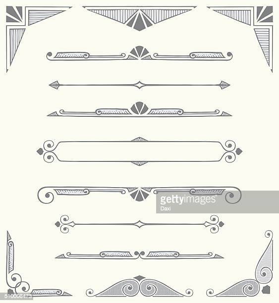 Decorative Dividers, Scrolls and Corners - Hand Drawn