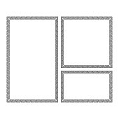 Decorative frames set in Greek style for photo or text. Abstract geometric ornament, isolated on white background. Vintage framework border. Vector illustration. EPS 10.