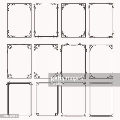 Decorative frames and borders rectangle proportions set : stock vector