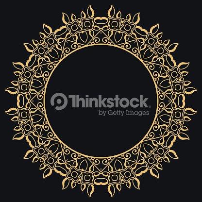 Decorative Golden Outline Doodle Floral Frame Border Template Vector