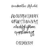 Modern calligraphy alphabet. Handwritten brush letters. Uppercase, lowercase. Hand lettering font for your design: wedding calligraphy, logo, slogan, window decor, postcard, greeting card