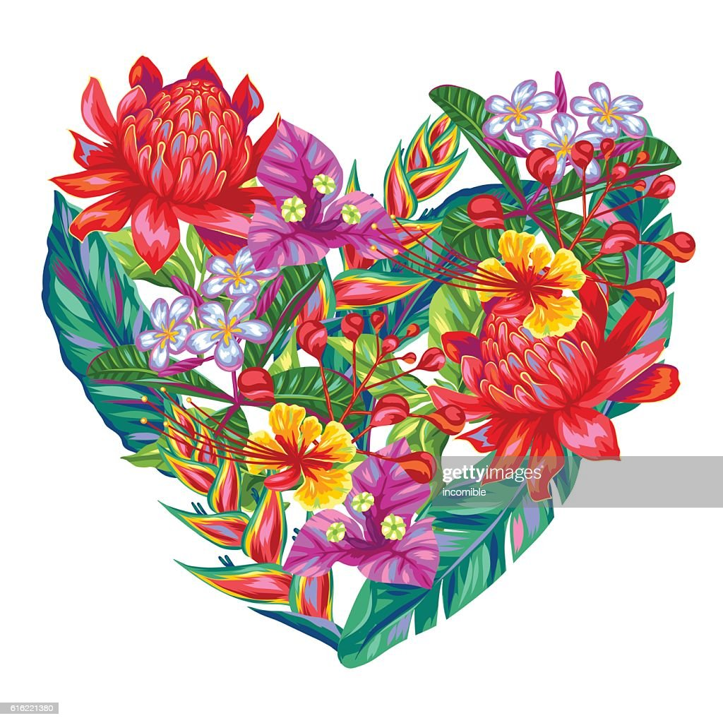 Decorative heart with Thailand flowers. Tropical multicolor plants, leaves and : Vector Art