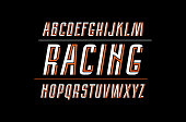 Decorative italic sans serif font with interweaving stripes. Letters for t-shirt and title design. Bright print on dark background