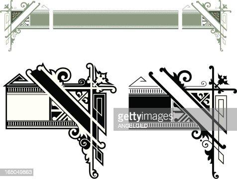 decorative lettering advertising corners vector art
