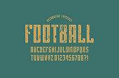 Decorative narrow sans serif font in sport style. Letters and numbers with rough texture for emblem design. Yellow print on green background