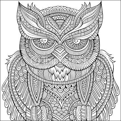 decorative ornamental owl background vector art thinkstock. Black Bedroom Furniture Sets. Home Design Ideas