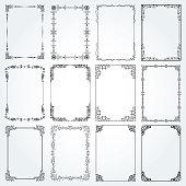 Decorative frames and borders standard rectangle proportions backgrounds vintage design elements set