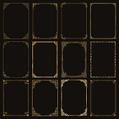 Decorative gold frames and borders standard rectangle proportions backgrounds vintage design elements set