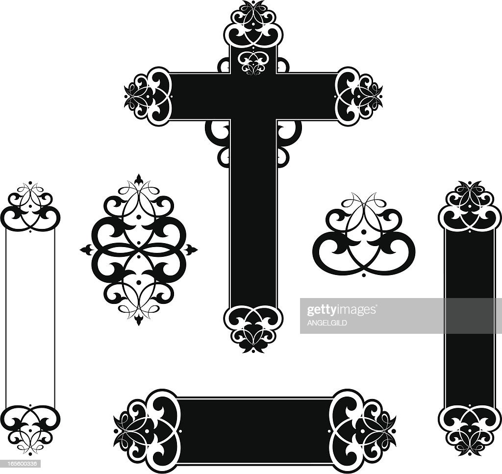 Decorative Scroll Cross Panels Vector Art | Getty Images