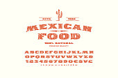Decorative serif font in retro style. Label template for mexican restaurant. Letters and numbers with rough texture for emblem design. Red print on white background