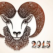 Decorative Sheep with Patterned Horns. Symbol of 2015