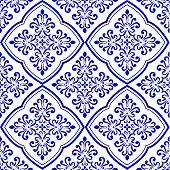 ceramic decorative tile pattern, Porcelain background, blue and white floral decor vector illustration, beautiful ceiling backdrop damask style, wallpaper baroque design