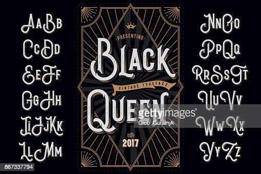 Decorative typeface named 'Black Queen' with extruded lines effect and vintage label template : stock vector