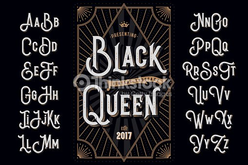 """Decorative typeface named """"Black Queen"""" with extruded lines effect and vintage label template : stock vector"""