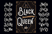 Decorative typeface named 'Black Queen' with extruded lines effect and vintage label template