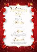 Valentine's Day menu design with decorative hearts