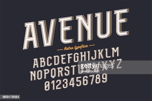 Decorative vector vintage retro typeface, font, alphabet letters, typeface : Vector Art
