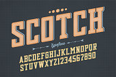 Decorative vector vintage retro typeface, font, alphabet letters. Color swatches control