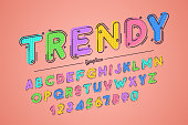 Decorative vector vintage retro typeface, font, typeface. Color swatches control