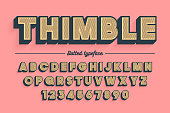 Decorative vector vintage retro typeface, shadow, font, typeface. Color swatches control
