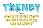 Decorative vector vintage retro typeface, font, typeface. Color swatches control