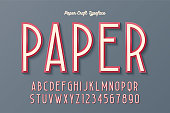 Decorative vintage paper craft typeface, font, typeface design. Easy Swatch color control
