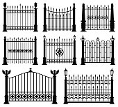 Decorative wrought fences and gates vector set. Black silhouette fence frame illustration