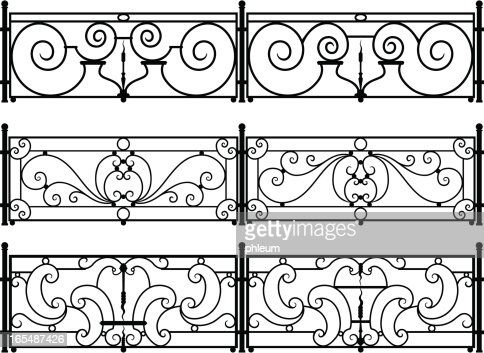 ornate wrought iron fence. decorative wroughtiron fence or railing vector drawings art getty images ornate wrought iron