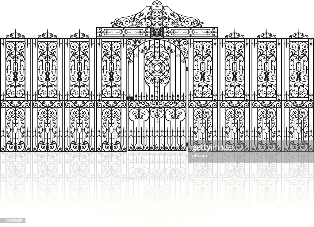 Decorative wroughtiron fence with gate vector drawing