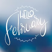 Decorative card with handdrawn lettering. White handlettering with floral frame on blurred colorful background. Trendy handwritten modern ink calligraphy. Hello February - Months collection - vector