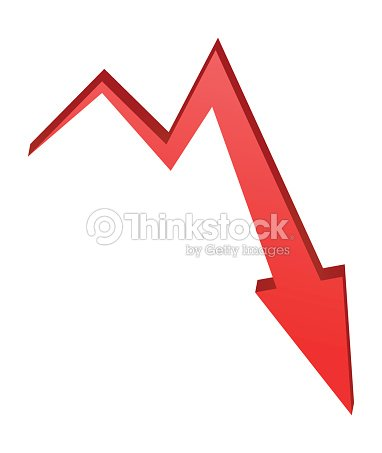 Decrease Arrow Symbol Red Icon Business Concept Vector Art Thinkstock