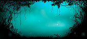 deep fairy forest silhouette at night, fireflies in the summer forest, vector