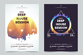 Deep house party a4 invitation concept. Night club party modern flyers. Black and white background with abstract geometric colorful shapes. Concept of the music poster. Vector eps 10.