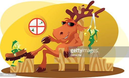 Deer and elves : Vector Art