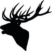 Black silhouette of a deer head and antlers