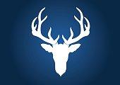 Deer head vecter, big horn deer vector